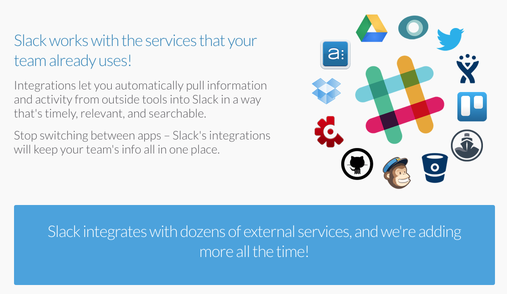 Slack highlights their easy integration with other members of the new business software ecosystem.