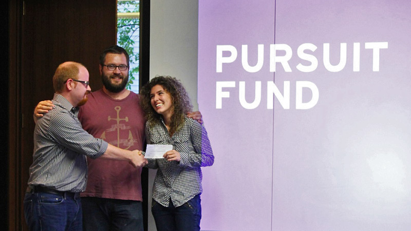 AIGA Raleigh Pursuit Fund Grant, presented by Brian Crawford to Hayley Hughes, circa 2013. Photo © Johnathan Opp.