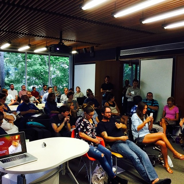 A packed back-to-school AIGA Raleigh Community Meeting, circa 2014. Photo © Laura Hamlyn.