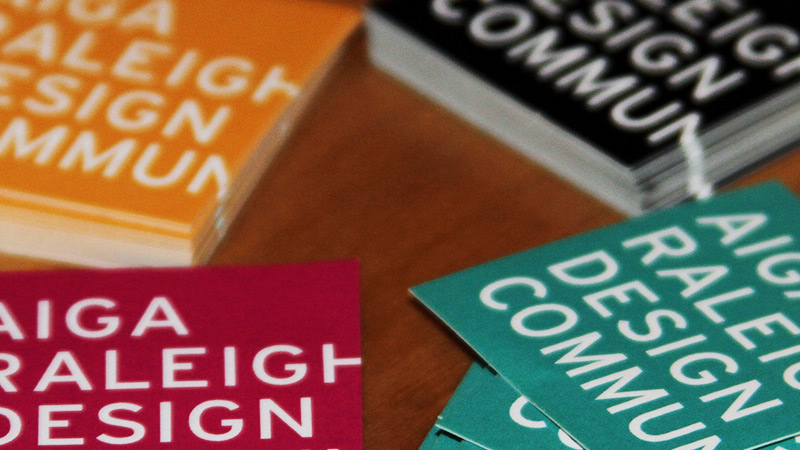 New branding for AIGA Raleigh on stickers. Photo © Amy Lyons.